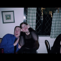 Lizz showing Tom how to pull faces