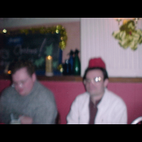 A picture of Simon and Matt, as seen through the eyes of a drunken party member.