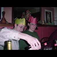 Chris and Andy drinking.